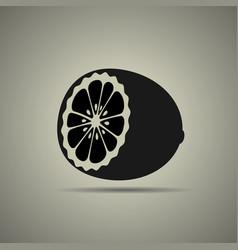 Half a lemon icon vector