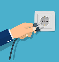 Hand connecting electrical plug vector