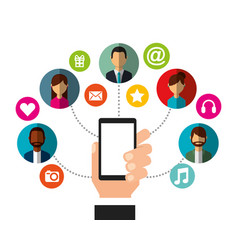 hand holding smartphone people connection social vector image