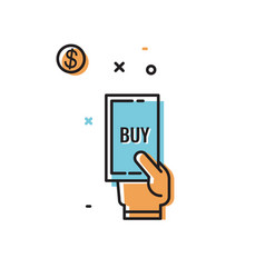 hand with phone and text to buy vector image