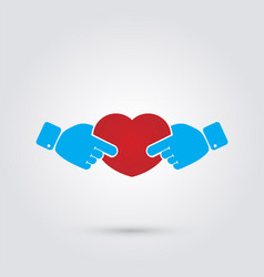 hands in the form of heart vector image