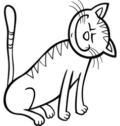 happy cat cartoon for coloring book vector image