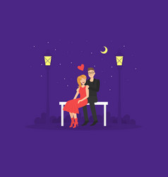 happy loving couple in love having romantic date vector image
