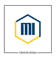 initial letter mi logo template design vector image
