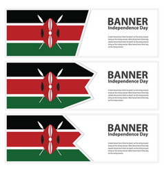 Kenya flag banners collection independence day vector