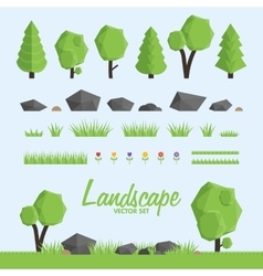 Landscape constructor icons set Trees stone and vector