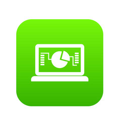 laptop with business graph icon digital green vector image
