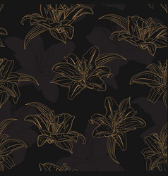 lily flower seamless pattern on black background vector image