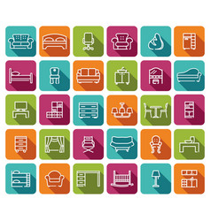 line furniture icons set images with shadows on vector image