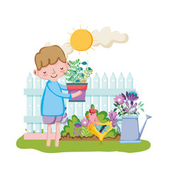 little boy lifting houseplant with fence and vector image