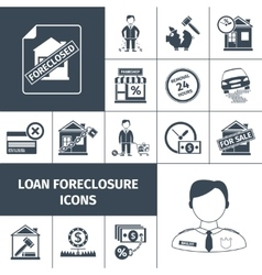 Loan Foreclosure Icons Black vector image