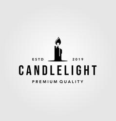 Luxury vintage candle light flame logo design vector
