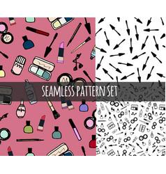 Make-up cosmetics seamless pattern set vector