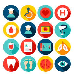 medical hospital flat icons vector image