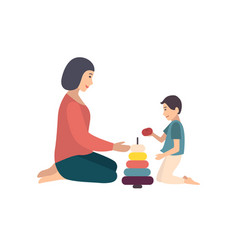 mom and son sitting on floor and building pyramid vector image