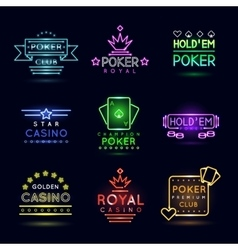 Neon light gambling emblems Poker club and casino vector