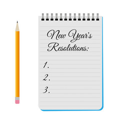 Notepad with title new years resolutions vector