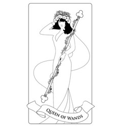 Outlines queen of wands with flowers crown vector