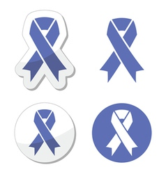 Periwinkle ribbons set - eating disorder symbol vector image