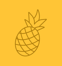 Pineapple color linear icon vector