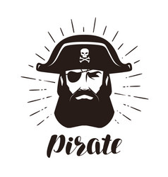 Pirate logo or label portrait of bearded one-eyed vector