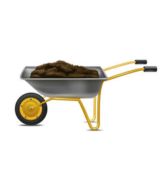 realistic detailed 3d wheelbarrow for gardening vector image