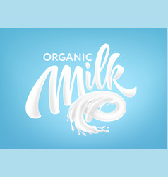 realistic splashes milk on a blue background vector image