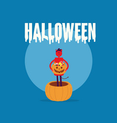 red devil holding pumpkin basket full candies and vector image
