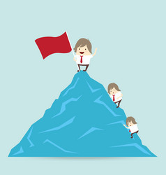 red flag and success businessman is win on top up vector image