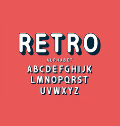 retro bold font and alphabet rounded letters with vector image