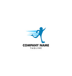 running man abstract delivery sport fitness logo vector image