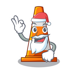 Santa on traffic cone against mascot argaet vector