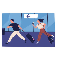 Scene man and woman hurrying to flight vector
