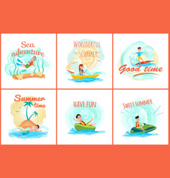 sea adventure and summer set vector image