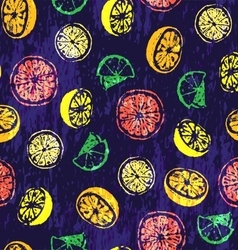 Seamless pattern with hand drawn citrus fruits vector image