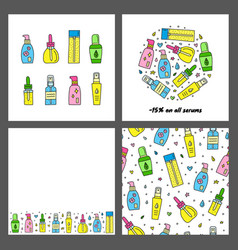 Set cards with doodle skin care serum ampoule vector