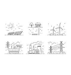 set energy types logo templates flat style vector image