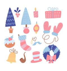 set modern flat hand drawn style christmas vector image
