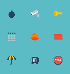 Set of safety icons flat style symbols with bomb vector