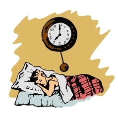 sketch of boy sleeps in bed and a clock on wall vector image