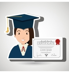 student woman graduation education vector image