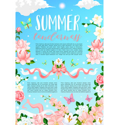 Summer time flowers floral poster vector