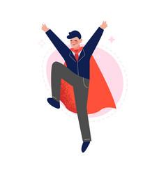 Super man in red cape successful superhero vector