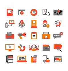 Support Center Icons Set vector image