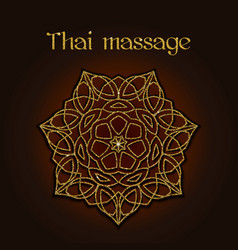 thai massage background with golden floral mandala vector image