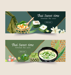 Thai sweet banner design with pudding vector