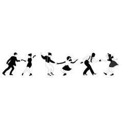 Three swing dance couples black and white vector