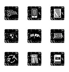 Translation of language icons set grunge style vector image