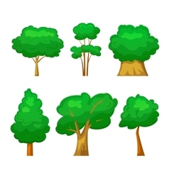Trees set in cartoon style vector image