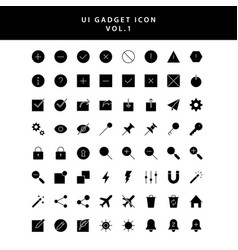 Ui gadget icon set glyph style vol 1 vector